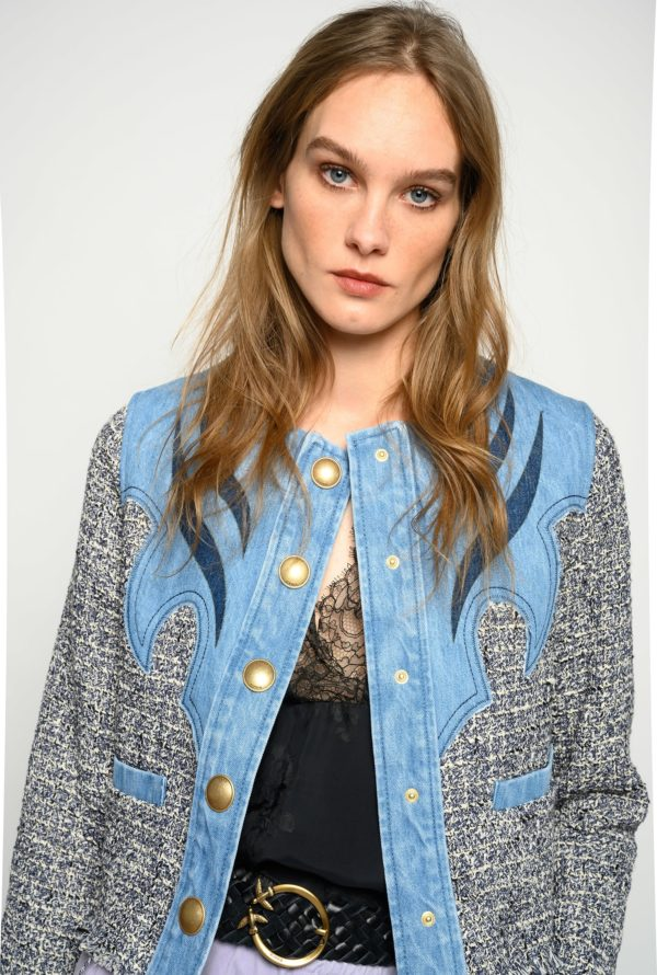 CHAQUETA BOXY DE DENIM Y TWEED BOUCLÉ